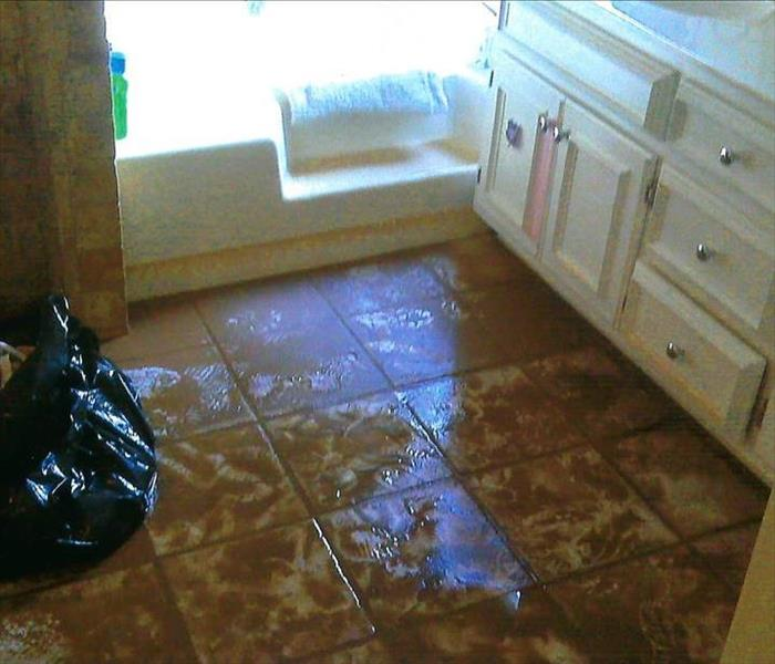Sewage Backup in Kennesaw Master Bathroom Before