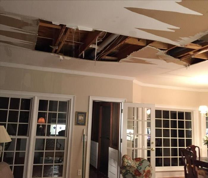 ceiling water damage to Roswell home